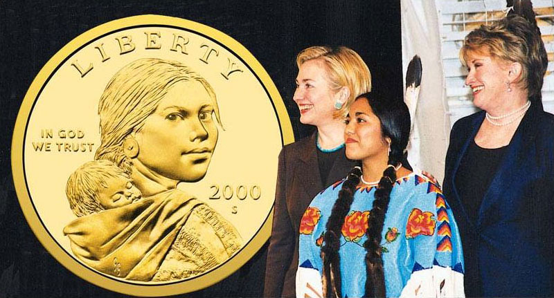 Sacagawea Dollar unveiled with Randy'L He-dow Teton and Goodacre