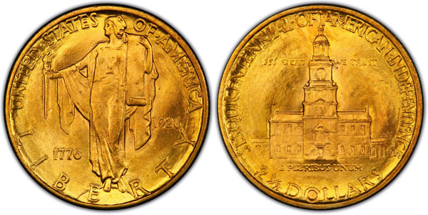 1926 Sesquicentennial American Independence $2.50 Gold Quarter Eagle