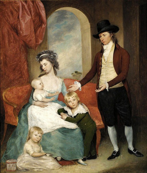 Portrait of US coin designer Joseph Wright and his family