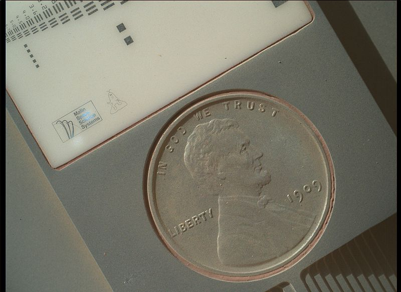 1909 VDB Lincoln Cent on Mars Rover