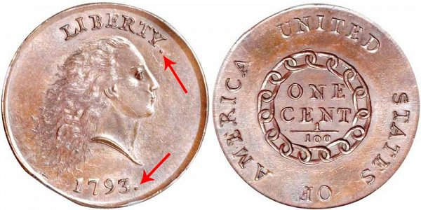 1793 Flowing Hair Large Cent Penny - Chain Reverse - With Periods