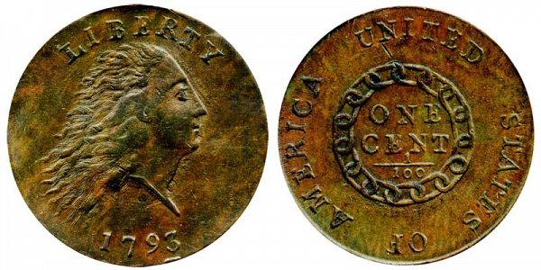 1793 Flowing Hair Large Cent Penny - Chain Reverse - Without Periods