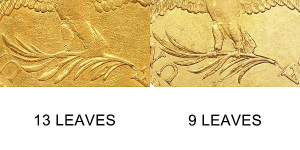 1795 13 Leaves vs 9 Leaves - $10 Turban Head Gold Eagle - Difference and Comparison