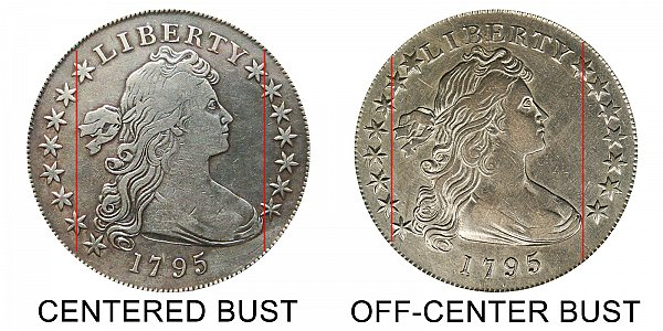 1795 Draped Bust Silver Dollar Varieties - Difference and Comparison
