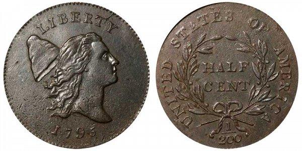 1795 Liberty Cap Half Cent Penny - No Pole - Plain Edge