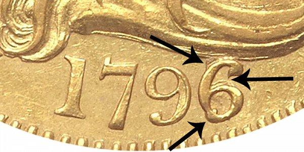 1796/5 Small Eagle - Turban Head Gold Half Eagle - 6 Over 5 Overdate - Closeup Example Image
