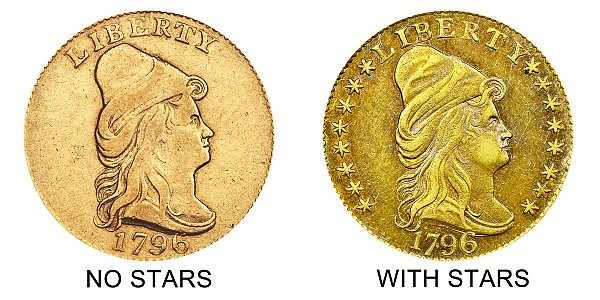1796 No Stars vs With Stars - Turban Head $2.50 Gold Quarter Eagle