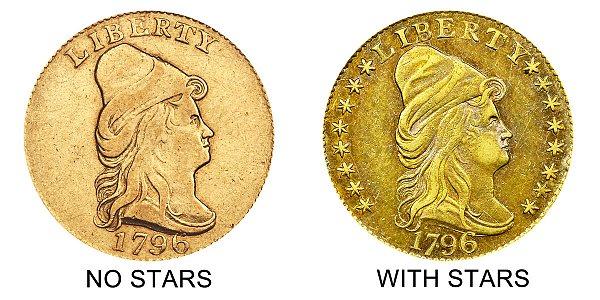 1796 No Stars vs With Stars - Turban Head $2.50 Gold Quarter Eagle