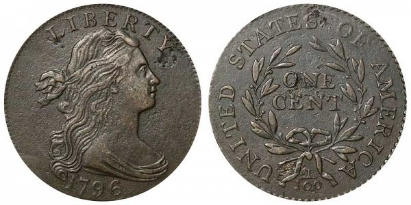 1796 Draped Bust Large Cent Penny - Reverse of 1794