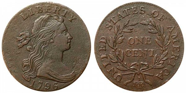 1796 Draped Bust Large Cent Penny - Reverse of 1795