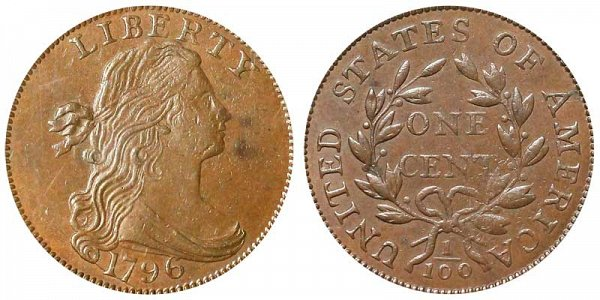 1796 Draped Bust Large Cent Penny - Reverse of 1797