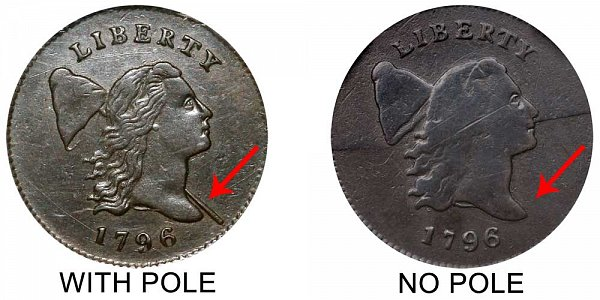 1796 With Pole vs No Pole Liberty Cap Half Cent - Difference and Comparison