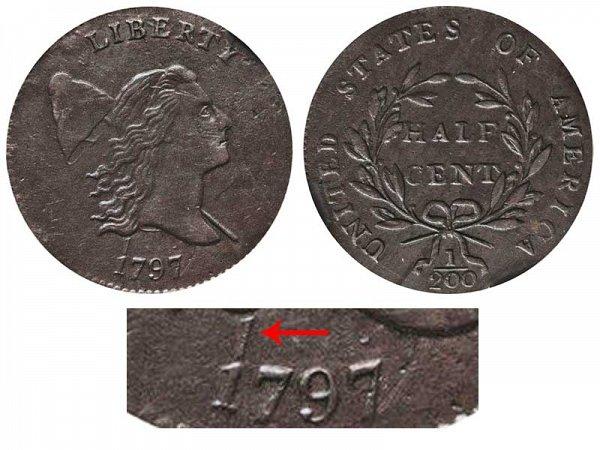 1797 Liberty cap Half Cent Penny - 1 Above 1 Error