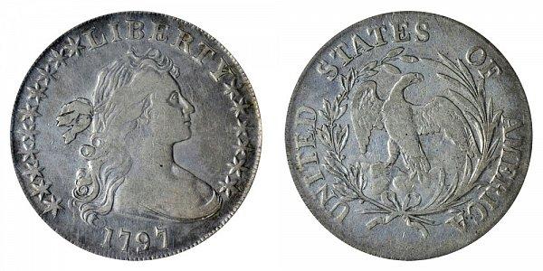1797 Draped Bust Silver Dollar - 10 Stars Left - 6 Stars Right