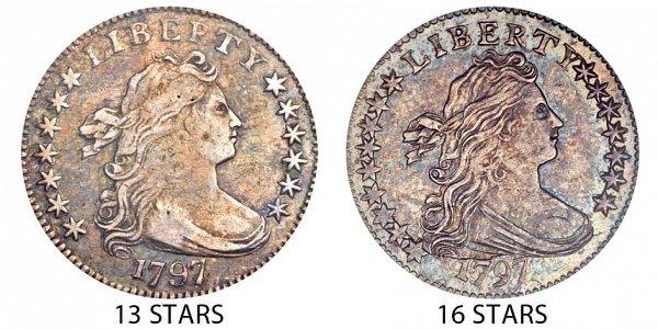 1797 Draped Bust Dime - 13 Stars vs 16 Stars