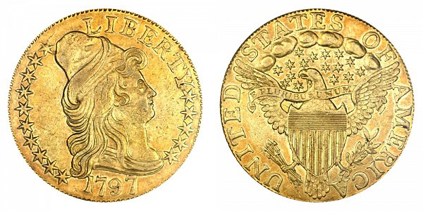 1797 15 Stars Large Eagle - Turban Head $5 Gold Half Eagle - Five Dollars