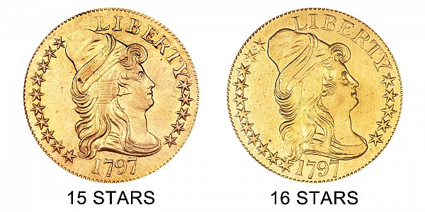 1797 15 Stars vs 16 Stars - Small Eagle - $5 Turban Head Gold Half Eagle - Difference and Comparison