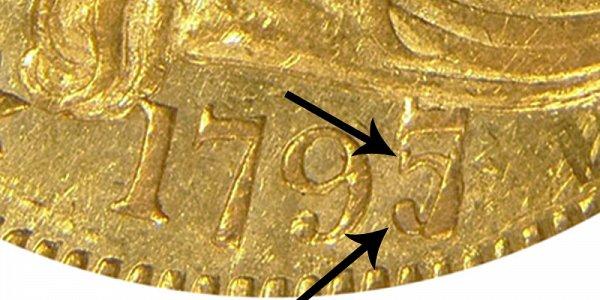 1797/5 Large Eagle - Turban Head Gold Half Eagle - 7 Over 5 Overdate - Closeup Example Image