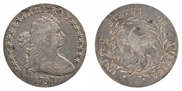 1797 Draped Bust Silver Dollar - 9 Stars Left - 7 Stars Right - Small Letters