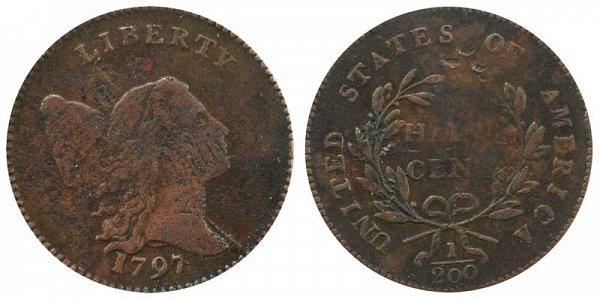 1797 Liberty cap Half Cent Penny - Low Head - Plain Edge