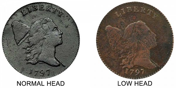 1797 Normal Centered Head vs Low Head Liberty Cap Half Cent - Difference and Comparison