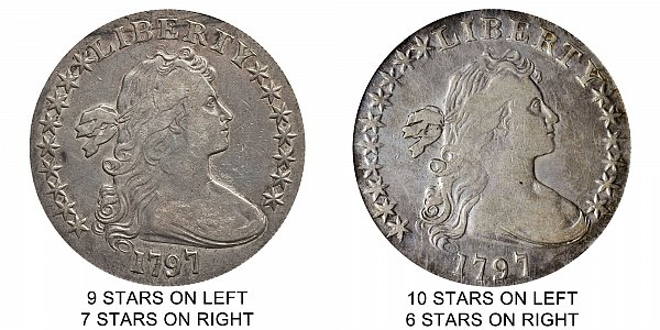 1797 Draped Bust Silver Dollar Varieties - Difference and Comparison