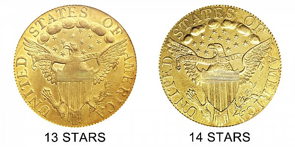 1798 13 Stars vs 14 Stars - $5 Turban Head Gold Half Eagle - Difference and Comparison