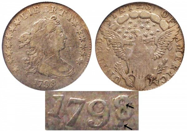 1798/7 Draped Bust Dime - 16 Stars - 8 Over 7