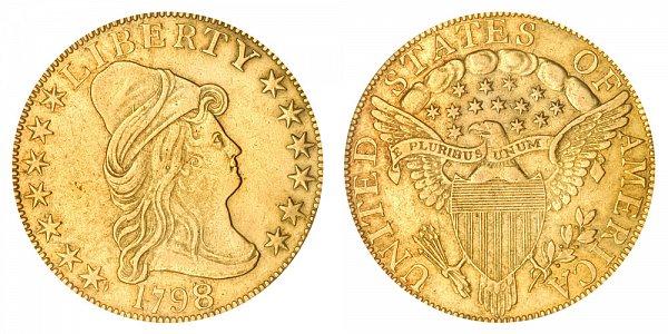 1798/7 7x6 Stars - Turban Head $10 Gold Eagle - Ten Dollars