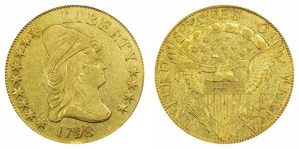 1798/7 9x4 Stars - Turban Head $10 Gold Eagle - Ten Dollars