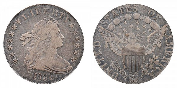 1798 Draped Bust Silver Dollar - Knob 9 - 5 Vertical Lines/Stripes
