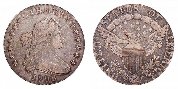 1798 Draped Bust Silver Dollar - Pointed 9 - 5 Vertical Lines/Stripes