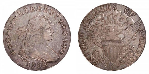 1798 Draped Bust Silver Dollar - Pointed 9 - Wide Date