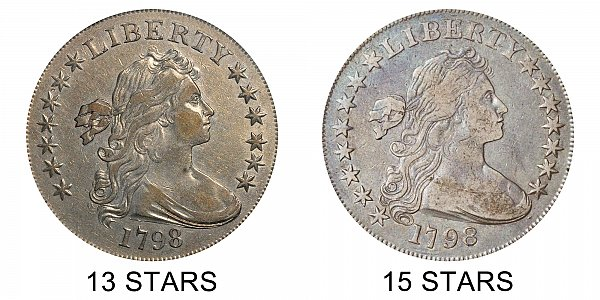 1798 Draped Bust Silver Dollar - Small Eagle Varieties - Difference and Comparison