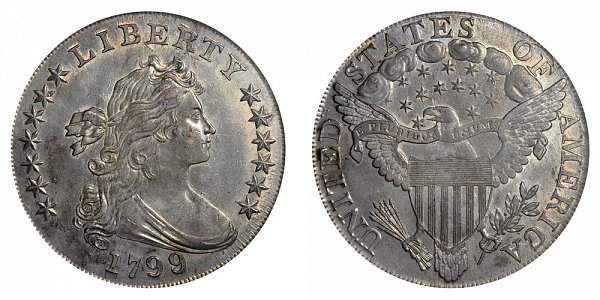1799/8 Draped Bust Silver Dollar - 9 Over 8 Overdate - 15 Stars Reverse