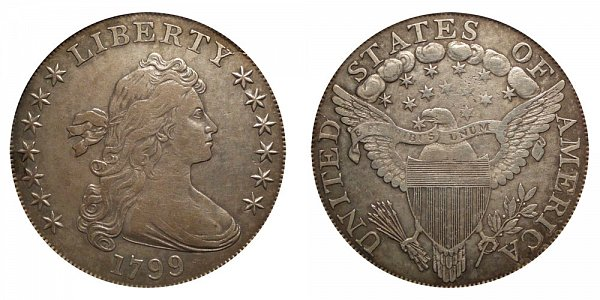 1799 Draped Bust Silver Dollar - Normal Date - 7x6 Stars Obverse - With Berries