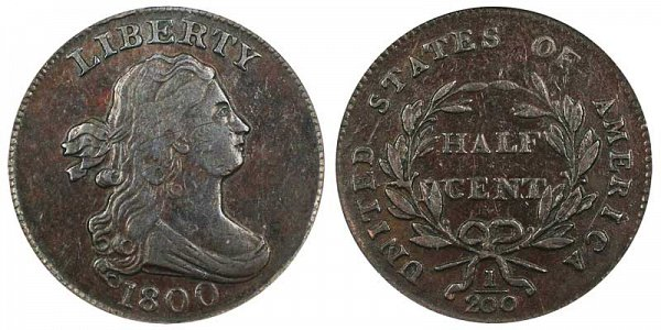 1800 Draped Bust Half Cent Penny