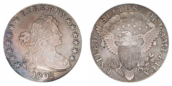 1802/1 Draped Bust Silver Dollar - 2 Over 1 - Narrow Date