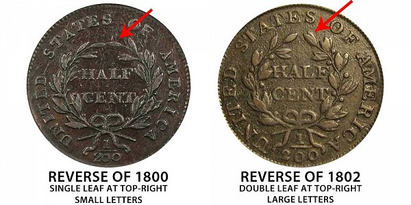 Reverse of 1800 vs Reverse of 1802 Draped Bust Half Cent - Difference and Comparison