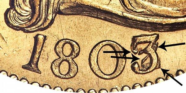 1803/2 Small Eagle - Turban Head Gold Half Eagle - 3 Over 2 Overdate - Closeup Example Image