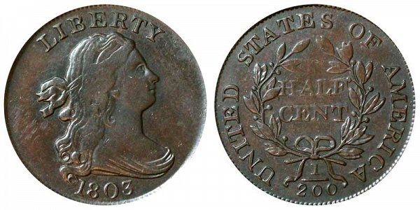 1803 Draped Bust Half Cent Penny - Normal Date