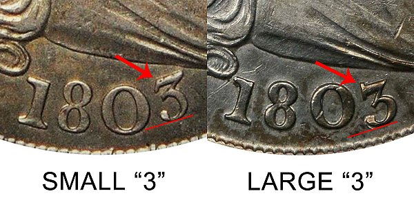 1803 Draped Bust Silver Dollar Varieties - Difference and Comparison