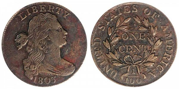 1803 Draped Bust Large Cent Penny - Small Date - Large Fraction