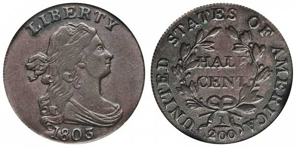 1803 Draped Bust Half Cent Penny - Widely Spaced 3