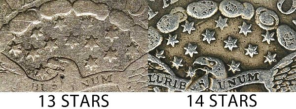 1804 Draped Bust Dime - 13 Stars vs 14 Stars Comparison
