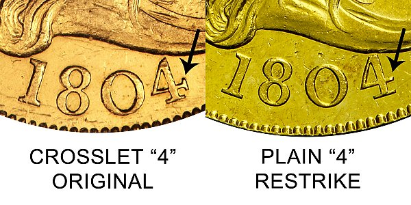 1804 Crosslet 4 vs Plain 4 - $10 Turban Head Gold Eagle - Difference and Comparison