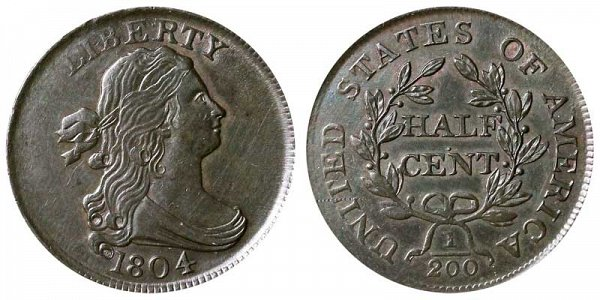 1804 Draped Bust Half Cent Penny - Plain 4 - No Stems