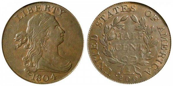 1804 Draped Bust Half Cent Penny - Plain 4 - With Stems