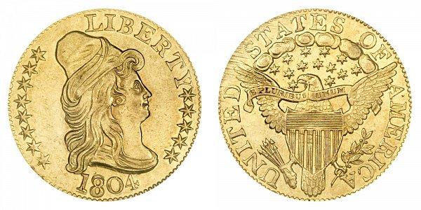 1804 Small 8 Over Large 8 - Turban Head $5 Gold Half Eagle - Five Dollars