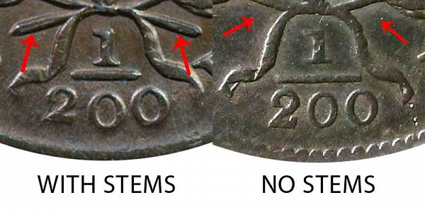 1804 With Stems vs No Stems (Stemless) Draped Bust Half Cent - Difference and Comparison
